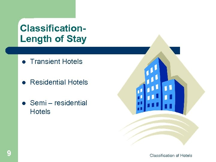 Classification. Length of Stay l l Residential Hotels l 9 Transient Hotels Semi –