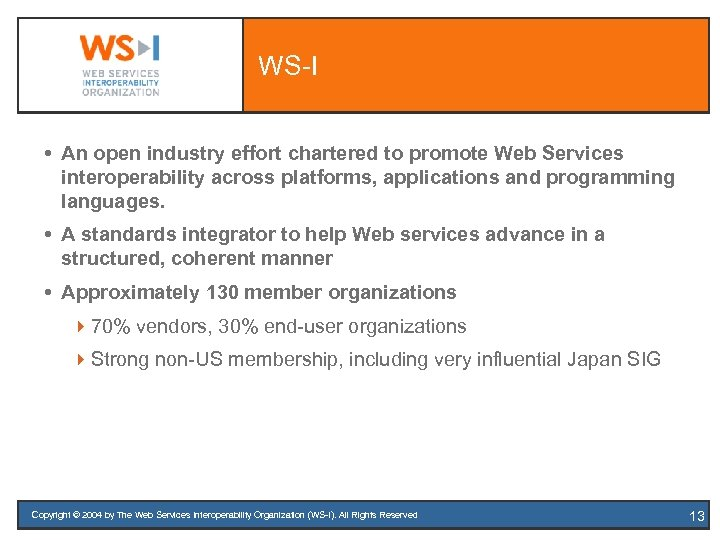 WS-I An open industry effort chartered to promote Web Services interoperability across platforms, applications