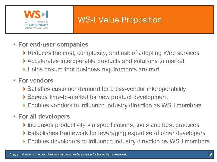WS-I Value Proposition For end-user companies 4 Reduces the cost, complexity, and risk of