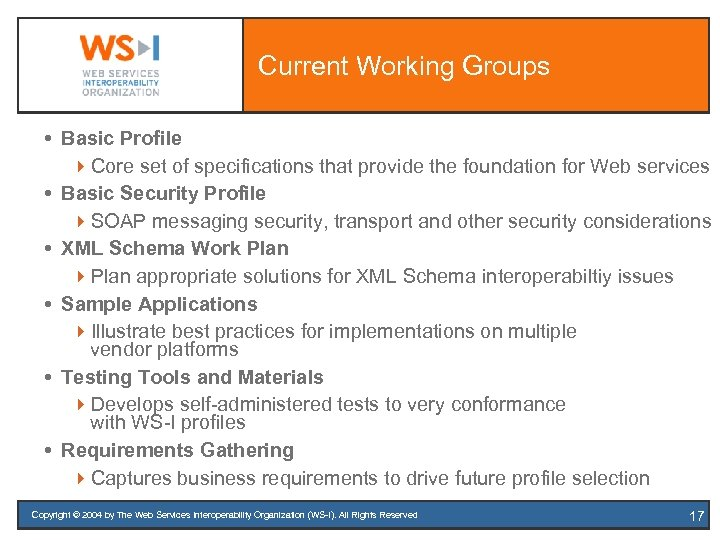 Current Working Groups Basic Profile 4 Core set of specifications that provide the foundation
