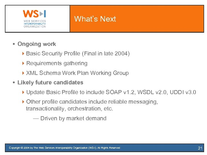 What's Next Ongoing work 4 Basic Security Profile (Final in late 2004) 4 Requirements