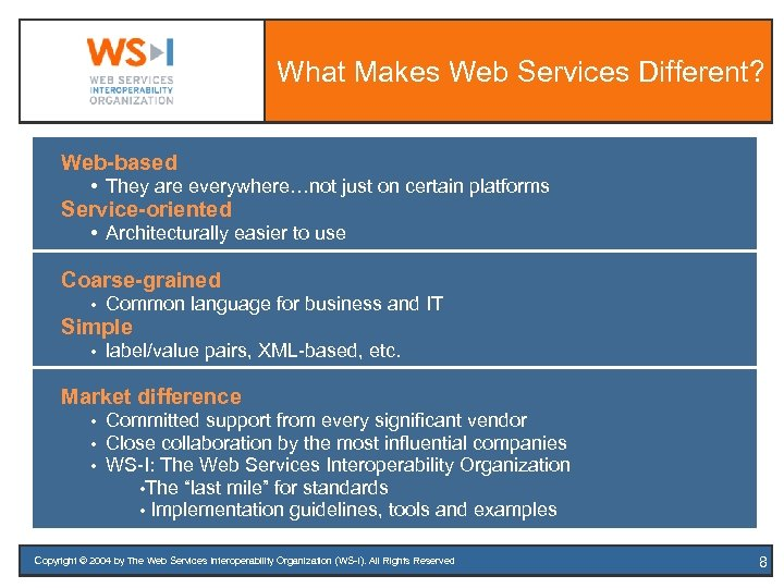 What Makes Web Services Different? Web-based • They are everywhere…not just on certain platforms