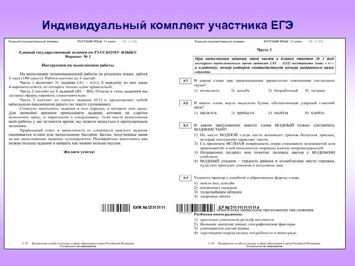Индивидуальный комплект участника ЕГЭ КИМ № 55515111 БР № 31111114