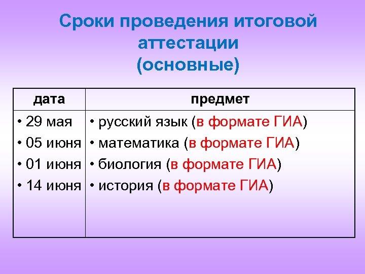 Сроки проведения итоговой аттестации (основные) дата • 29 мая • 05 июня • 01