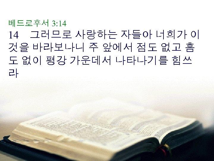 베드로후서 3: 14 14 그러므로 사랑하는 자들아 너희가 이 것을 바라보나니 주 앞에서 점도