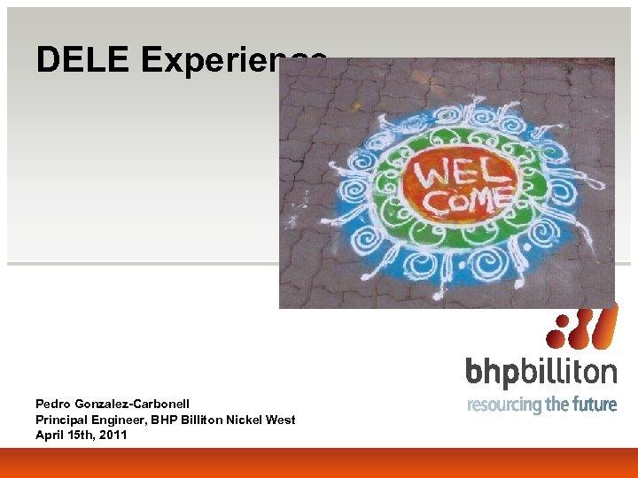 DELE Experience Pedro Gonzalez-Carbonell Principal Engineer, BHP Billiton Nickel West April 15 th, 2011
