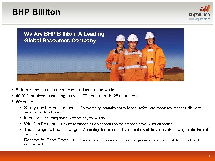 BHP Billiton We Are BHP Billiton, A Leading Global Resources Company § Billiton is