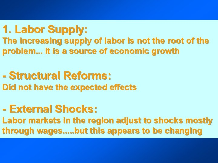 1. Labor Supply: The increasing supply of labor is not the root of the