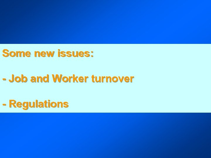 Some new issues: - Job and Worker turnover - Regulations