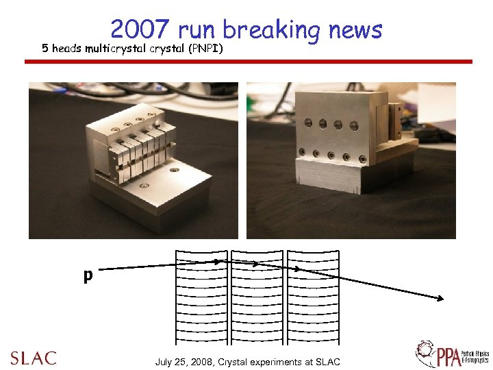 2007 run breaking news 5 heads multicrystal (PNPI) p July 25, 2008, Crystal experiments