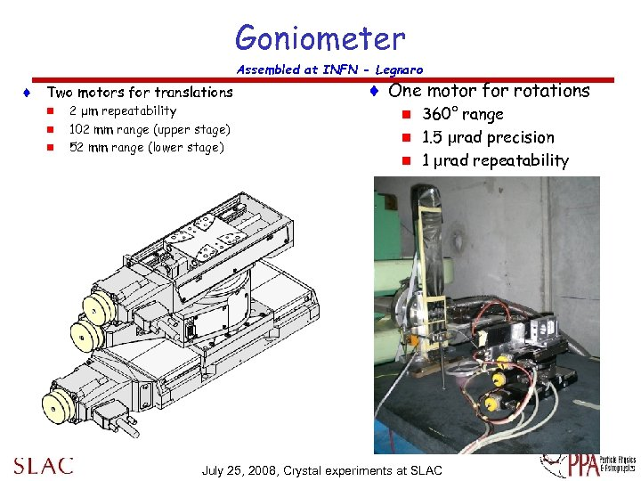 Goniometer Assembled at INFN - Legnaro t Two motors for translations n n n