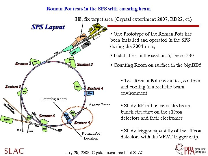 Roman Pot tests in the SPS with coasting beam H 8, fix target area