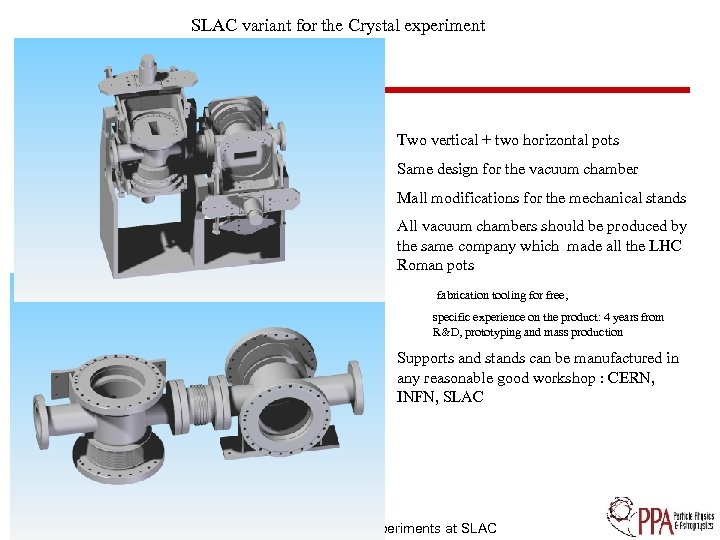 SLAC variant for the Crystal experiment Two vertical + two horizontal pots Same design
