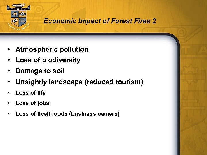 Economic Impact of Forest Fires 2 • Atmospheric pollution • Loss of biodiversity •