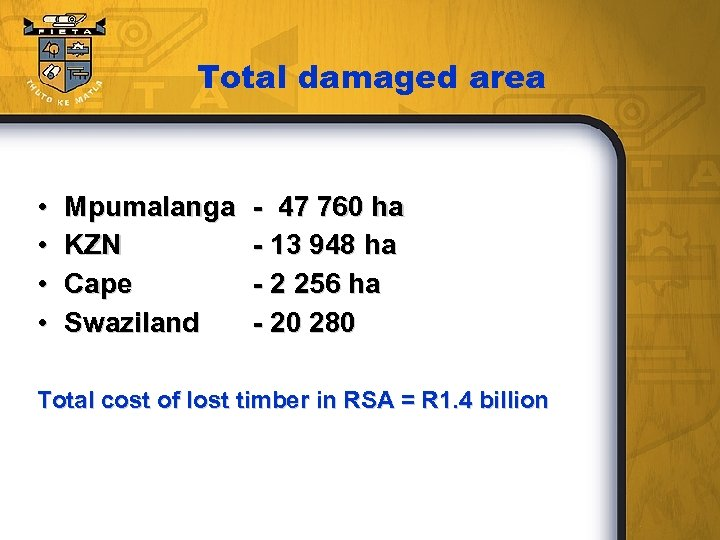 Total damaged area • • Mpumalanga KZN Cape Swaziland - 47 760 ha -