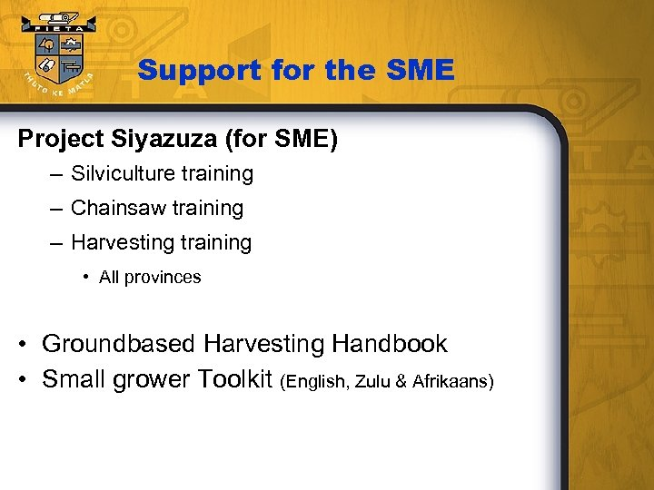 Support for the SME Project Siyazuza (for SME) – Silviculture training – Chainsaw training