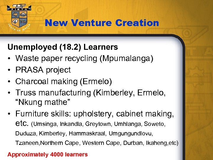 New Venture Creation Unemployed (18. 2) Learners • Waste paper recycling (Mpumalanga) • PRASA