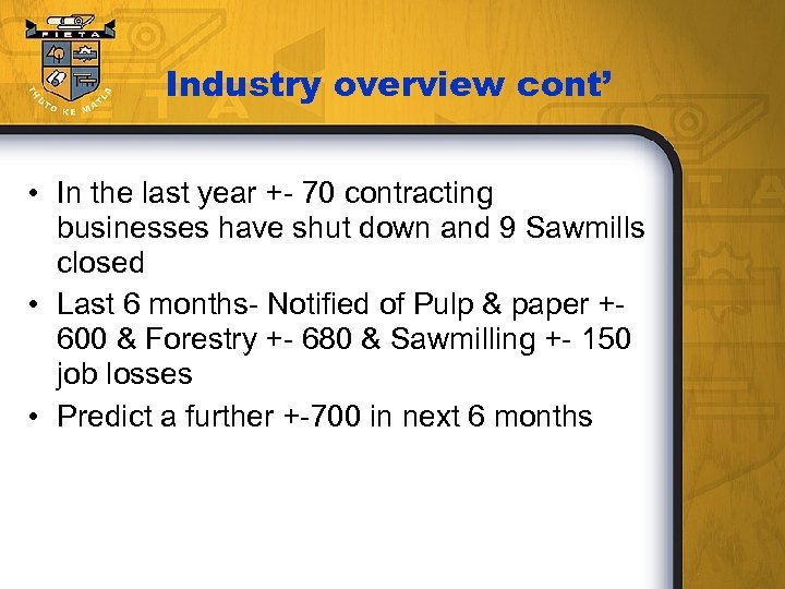 Industry overview cont' • In the last year +- 70 contracting businesses have shut