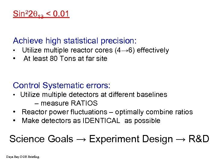 Sin 22 13 < 0. 01 Achieve high statistical precision: Utilize multiple reactor cores