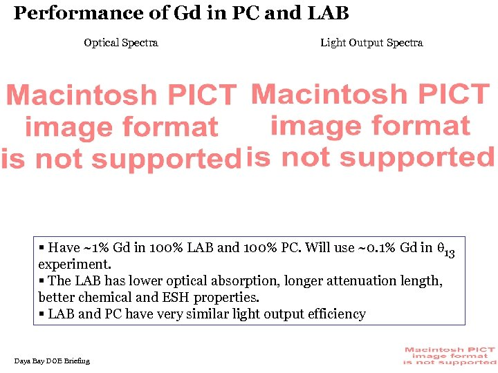Performance of Gd in PC and LAB Optical Spectra Light Output Spectra § Have