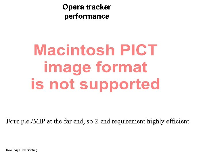 Opera tracker performance Four p. e. /MIP at the far end, so 2 -end