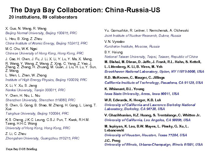 The Daya Bay Collaboration: China-Russia-US 20 institutions, 89 collaborators X. Guo, N. Wang, R.