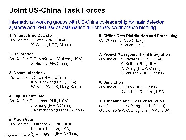 Joint US-China Task Forces International working groups with US-China co-leadership for main detector systems