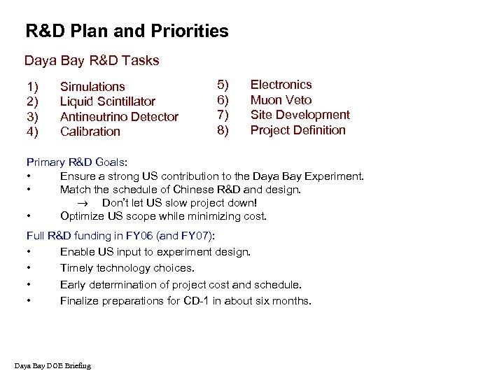 R&D Plan and Priorities Daya Bay R&D Tasks 1) 2) 3) 4) Simulations Liquid