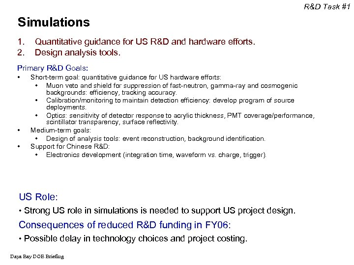 R&D Task #1 Simulations 1. 2. Quantitative guidance for US R&D and hardware efforts.