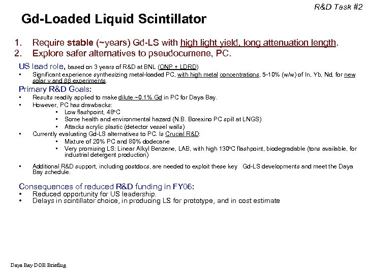 Gd-Loaded Liquid Scintillator 1. 2. R&D Task #2 Require stable (~years) Gd-LS with high