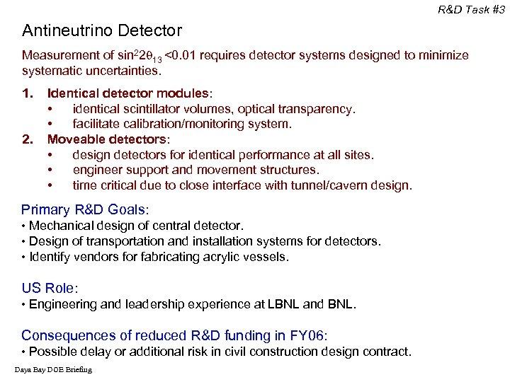 R&D Task #3 Antineutrino Detector Measurement of sin 22 13 <0. 01 requires detector