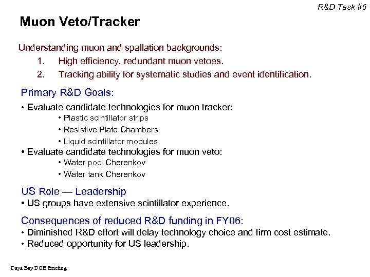 R&D Task #6 Muon Veto/Tracker Understanding muon and spallation backgrounds: 1. High efficiency, redundant