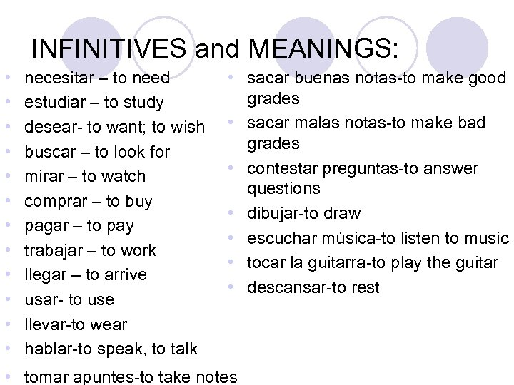 INFINITIVES and MEANINGS: • • • necesitar – to need estudiar – to study