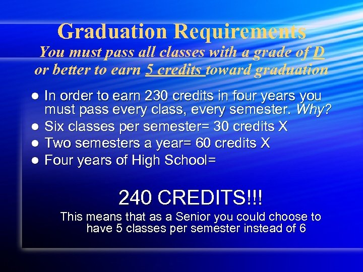 Graduation Requirements You must pass all classes with a grade of D or better