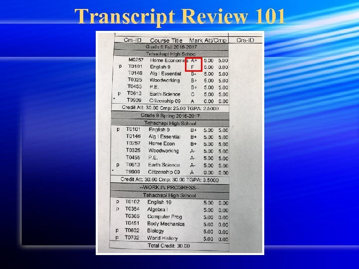 Transcript Review 101