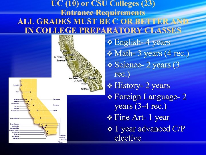 UC (10) or CSU Colleges (23) Entrance Requirements ALL GRADES MUST BE C OR