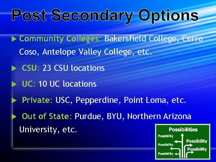 Post Secondary Options Community Colleges: Bakersfield College, Cerro Coso, Antelope Valley College, etc. CSU: