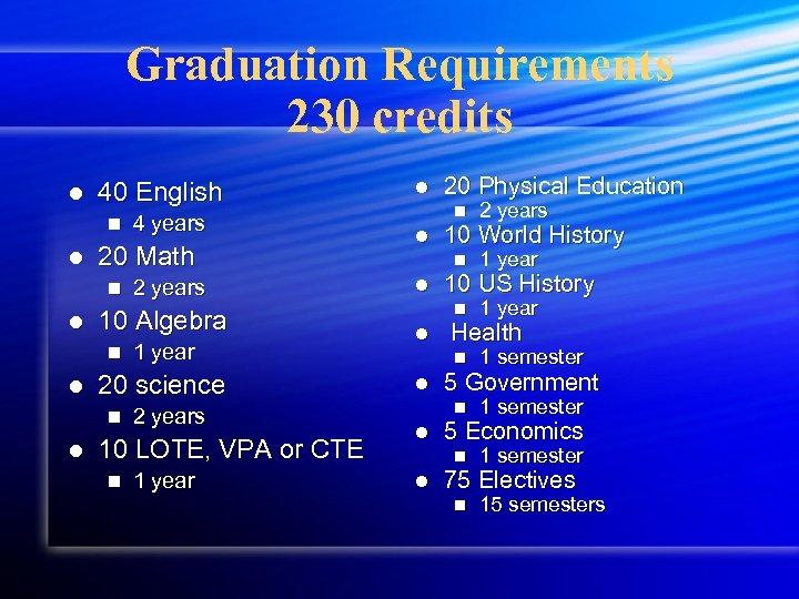 Graduation Requirements 230 credits l 40 English n l 20 Math n l 1