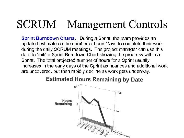 SCRUM – Management Controls Sprint Burndown Charts. During a Sprint, the team provides an