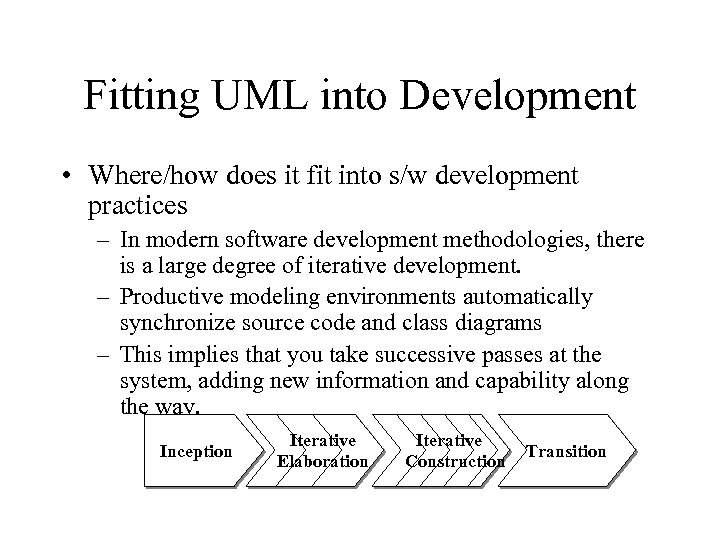 Fitting UML into Development • Where/how does it fit into s/w development practices –