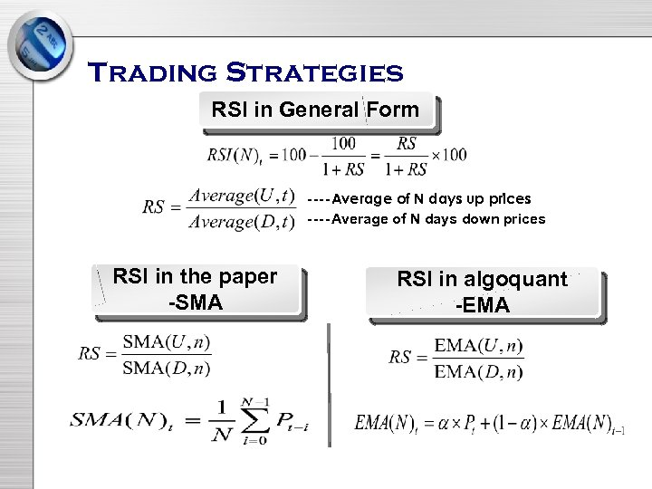 Trading Strategies RSI in General Form ----Average of N days up prices ----Average of