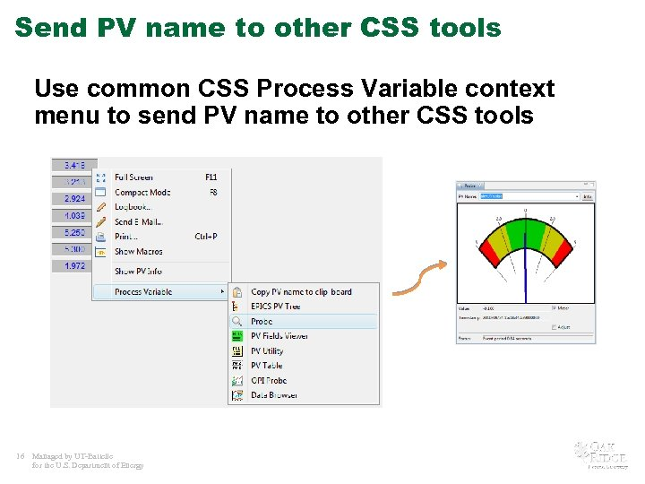 Send PV name to other CSS tools Use common CSS Process Variable context menu