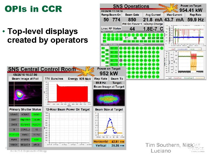 OPIs in CCR • Top-level displays created by operators 21 Managed by UT-Battelle for