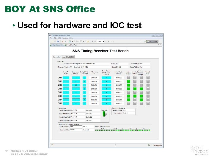 BOY At SNS Office • Used for hardware and IOC test 24 Managed by