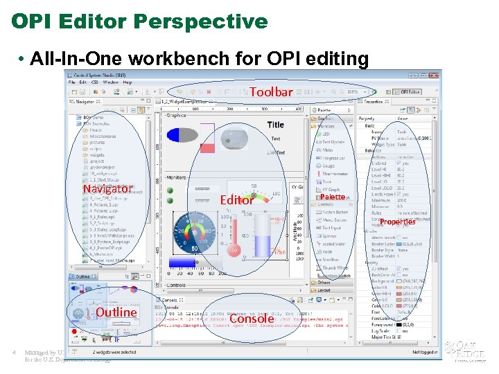 OPI Editor Perspective • All-In-One workbench for OPI editing Toolbar Navigator Editor Palette Properties