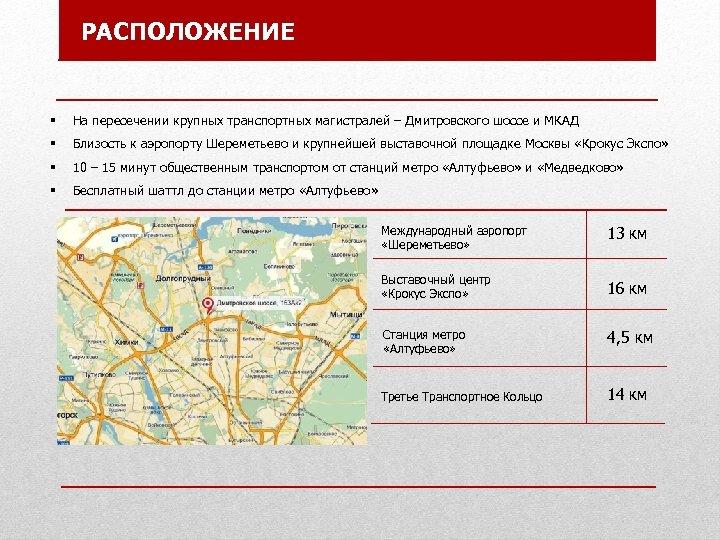 РАСПОЛОЖЕНИЕ § На пересечении крупных транспортных магистралей – Дмитровского шоссе и МКАД § Близость