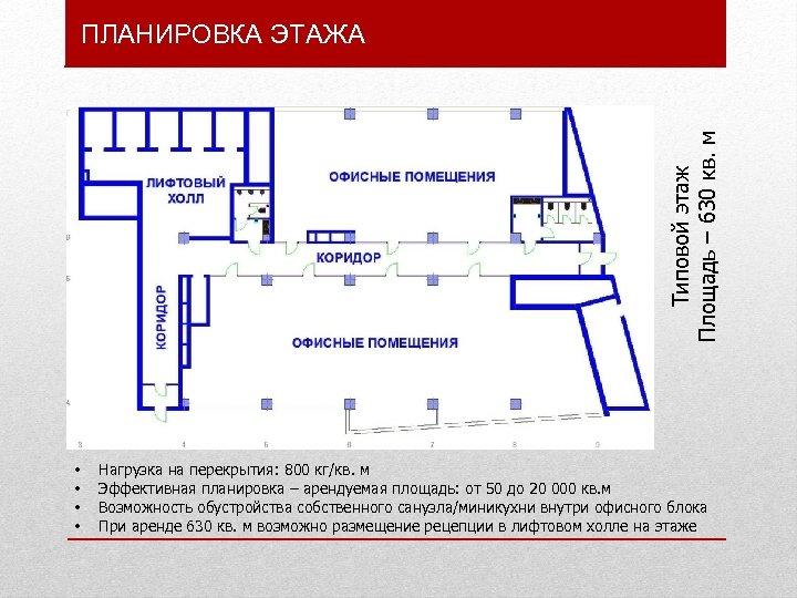 Типовой этаж Площадь – 630 кв. м ПЛАНИРОВКА ЭТАЖА • • Нагрузка на перекрытия: