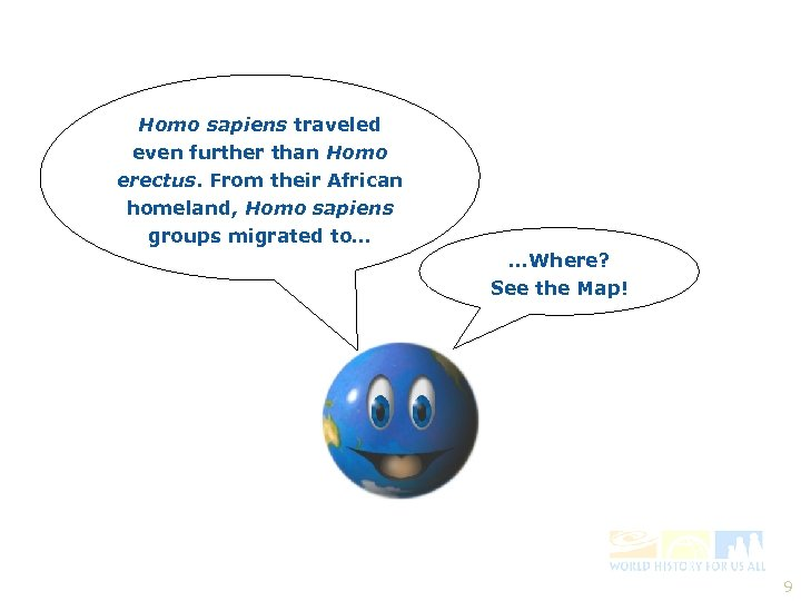 Homo sapiens traveled even further than Homo erectus. From their African homeland, Homo sapiens