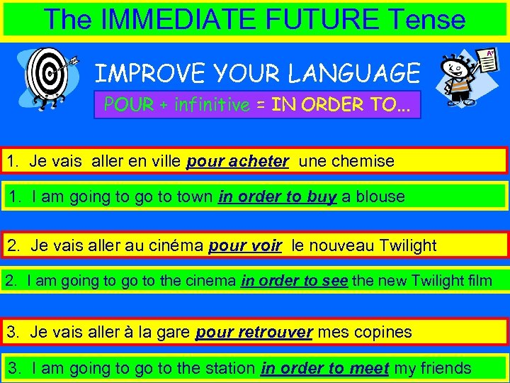 The IMMEDIATE FUTURE Tense IMPROVE YOUR LANGUAGE POUR + infinitive = IN ORDER TO.