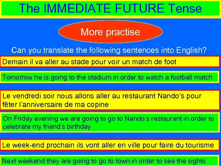 The IMMEDIATE FUTURE Tense More practise Can you translate the following sentences into English?